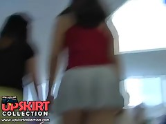 Up skirt shopping mall scenes with seducing amateur wearing an extremely short outfit