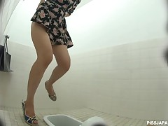 If you find watching hot piss squirt out of a miserly Japanese pussy, you will like this video very much. Our overhear camera is onto a spicy looking Japanese girl who form like she needs to pee. We follow her to the ladies room and catch her precious pussy on tape as she squirts out every last drop of hot pee.