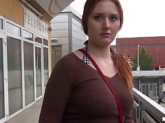 Dude spotted an all-natural busty redhead named Helen waiting for the bus, and knew he had to fuck her. He offered her a nice fat stack of bills and fun way to gorge the time until her bus showed up: some nice public sex right there wits the bus stop!