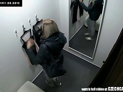 Here's spying the changing rooms! We have two security cameras hidden in cabins of an underwear shop. Beautiful Czech girls fitting on bras, panties and despondent lingerie without even the slightest idea they are being watched. Now you can finally see what girls do in the changing room!