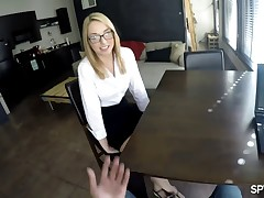 "Zoe looks so cute and smart in her nerdy eyeglasses and we love tricking this kind of eager coeds into stripping naked and fucking their ""future boss"". Our guy has a hidden camera in his glasses and he has the power to sweet-talk naive kittens like Zoe into sucking his big dick and letting him fuck them right during the job interview. This one let County cum inside so we might as well keep her for a sex internship. What do you thinks, fellas?"