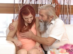 Old guy together with his son nicely seem to be wet pussy of cute redhead