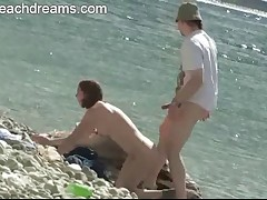 Wife gets fucked by stranger on swingers nude beach party